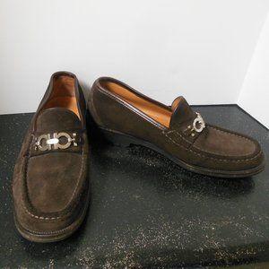Salvatore Ferragamo Master Brown Suede Loafers